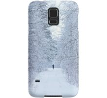 frozen winter road on the forest with along person Samsung Galaxy Case/Skin