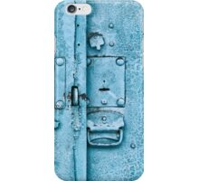 Close up of padlock and old metal hasp on an vintage door iPhone Case/Skin