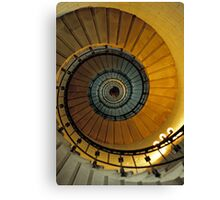 Spiral staircase in lighthouse, looking up, France. Canvas Print