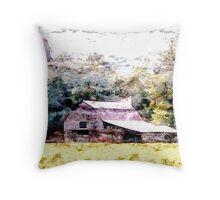 Smoky Mountain Barn Throw Pillow