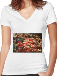 Ribbons and Hearts - Aix-en-Provence Market Women's Fitted V-Neck T-Shirt