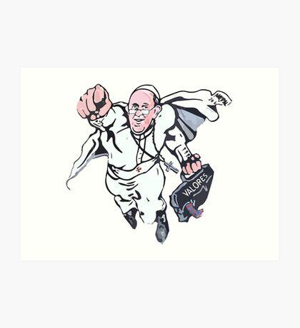 Pope Francis Superhero Art Print