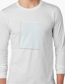 a lined ruled piece of paper Long Sleeve T-Shirt