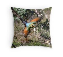 Rainbow Bee Eater on the hunt Throw Pillow