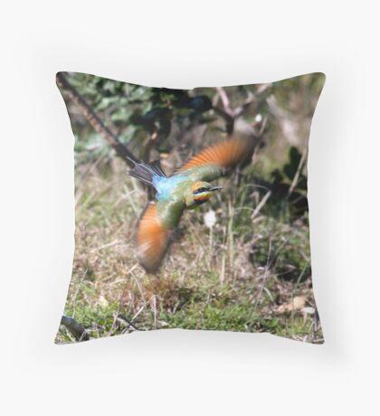 Rainbow Bee Eater on the hunt Throw Pillow