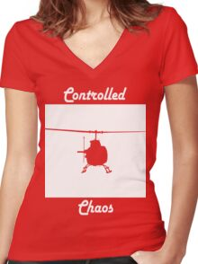 Copter Women's Fitted V-Neck T-Shirt