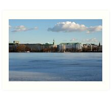 Hamburg Alster in Winter Art Print