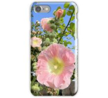 Pink Hollyhocks Against the Sky iPhone Case/Skin