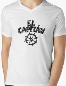El Capitán Wheel Vintage (Black) Mens V-Neck T-Shirt
