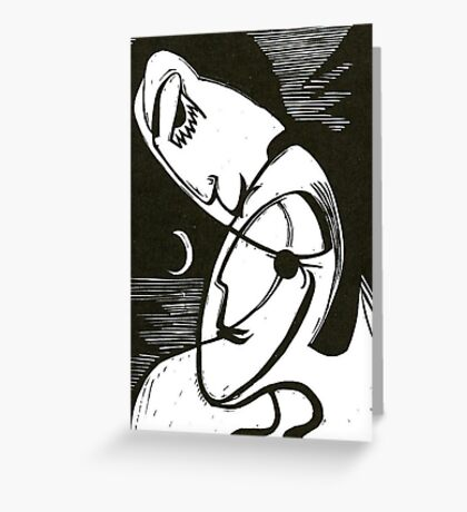 The Kiss At Moonlight With Ocean Greeting Card