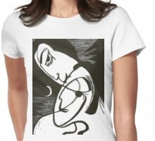 The Kiss At Moonlight With Ocean Womens Fitted T-Shirt