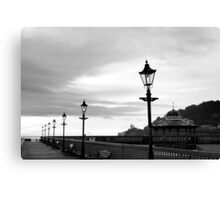 row of vintage lamps in black and white Canvas Print