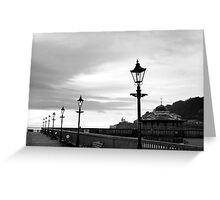 row of vintage lamps in black and white Greeting Card
