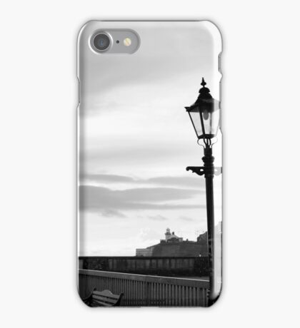 row of vintage lamps in black and white iPhone Case/Skin