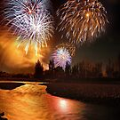 River Fireworks by Ken Wright