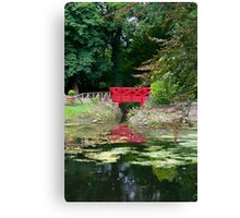 small red pond bridge Canvas Print