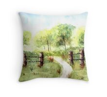 White Wildflower Field and Fence Throw Pillow
