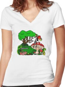 Magical Forest with Faerie Women's Fitted V-Neck T-Shirt