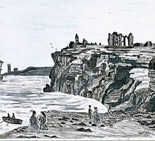 Tynemouth Castle & Priory circa 1700 AD by GEORGE SANDERSON