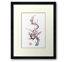 Chinese plum tree blossom sumi-e painting Framed Print