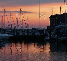 Sunset in Newport Harbor by jennwisz