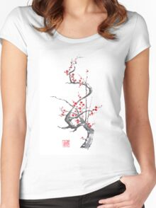 Chinese plum tree blossom sumi-e painting Women's Fitted Scoop T-Shirt