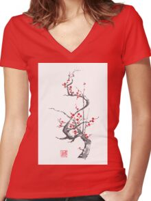 Chinese plum tree blossom sumi-e painting Women's Fitted V-Neck T-Shirt