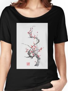 Chinese plum tree blossom sumi-e painting Women's Relaxed Fit T-Shirt