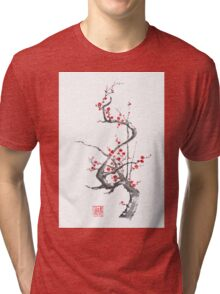 Chinese plum tree blossom sumi-e painting Tri-blend T-Shirt