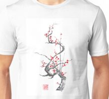 Chinese plum tree blossom sumi-e painting Unisex T-Shirt