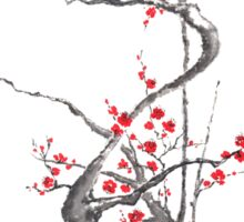 Chinese plum tree blossom sumi-e painting Sticker