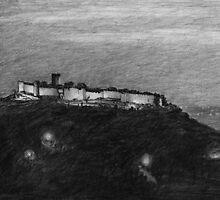 grecian hill at night by v0ff