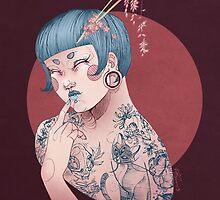 Blue Willow Tattoo Girl by KetziaKobrah