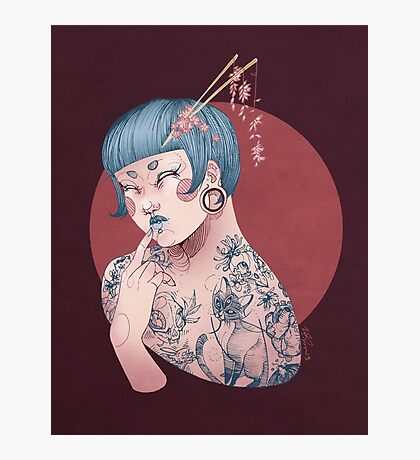 Blue Willow Tattoo Girl Photographic Print