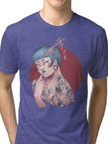 Blue Willow Tattoo Girl Tri-blend T-Shirt