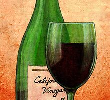 Wine Bottle With Glass by terrymulligan