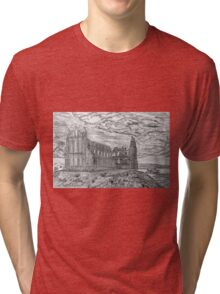 My pencil drawing of Whitby Abbey, Yorkshire Tri-blend T-Shirt