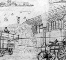 My pencil drawing of Steam Threshing in Yorkshire - all products Sticker