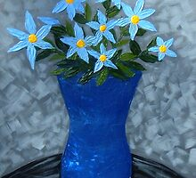 Abstract Blue Flower Vase by terrymulligan