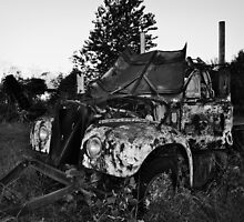 Old Farm Truck Black and white by AlixCollins