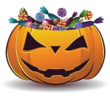Pumpkin with candy Photographic Print