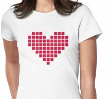 Red pixel heart Womens Fitted T-Shirt
