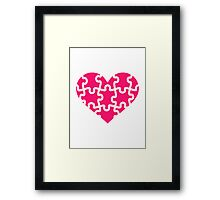 Pink heart puzzle Framed Print