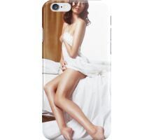Beautiful nude asian woman covering with bed sheets art photo print iPhone Case/Skin