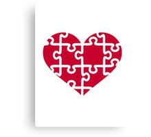 Red heart puzzle Canvas Print
