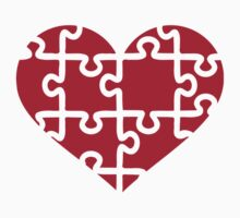 Red heart puzzle Kids Tee