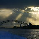 Sydney Harbour with approaching storm by Sheila  Smart
