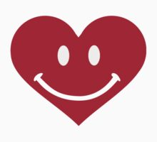 Red heart smiley happy Kids Tee