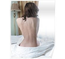Back of a young woman sitting naked on bed art photo print Poster