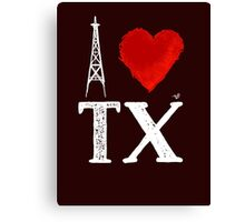 I Heart Texas (wht, remix) by Tai's Tees Canvas Print